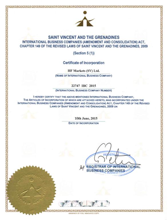 HotForex SV Certificate